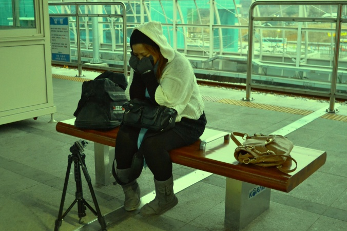 that's me...freezing at the Gapyeong station