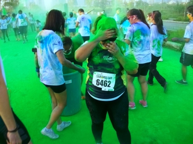 The moment where I got hit with 3 kilos of green stuff. Fun times.
