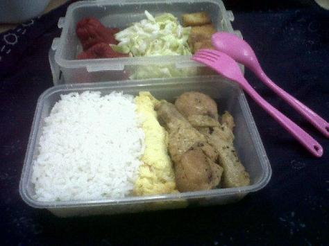 hotdog (it was shaped like an octopus!!!), coleslaw, marinated tofu, white rice, tamago and fried chicken.