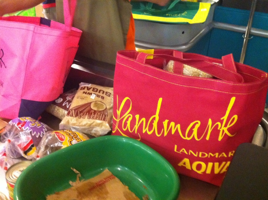 eco bags and groceries from The Landmark