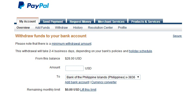 First Paypal Withdrawal