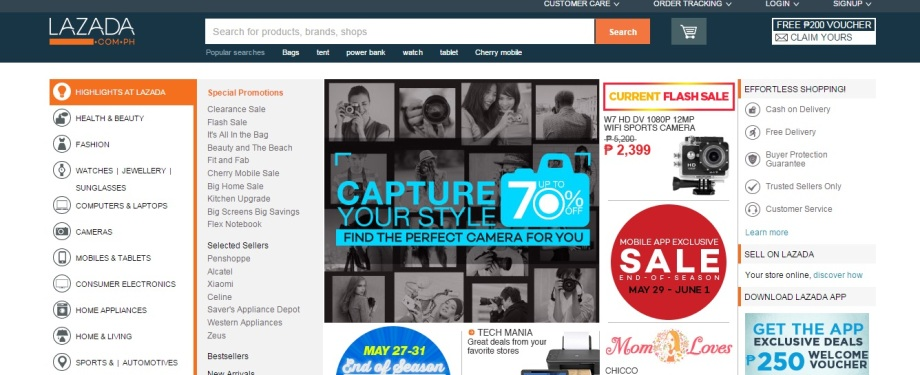 The Lazada Homepage where the list of products are arranged based on their brands