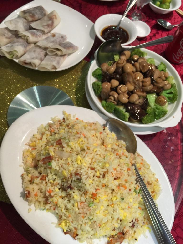 Yanchow Fried Rice, Sauteed Mushroom with Broccoli