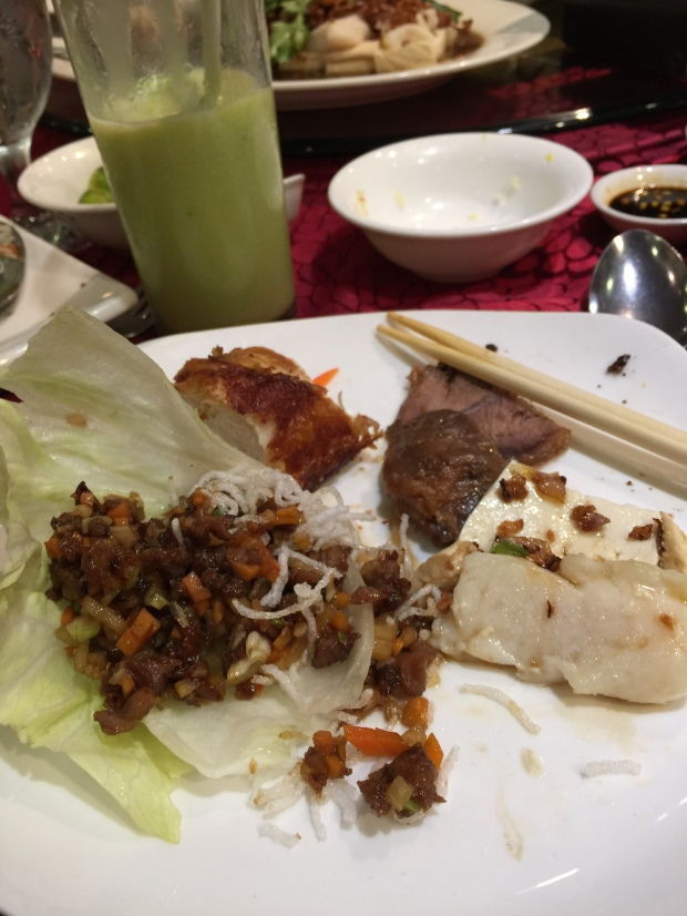 My plate: Peking duck done two ways -- this time, chopped and wrapped in lettuce leaf, steamed fish fillet in garlic, braised beef and fried chicken. Yes, no rice for me