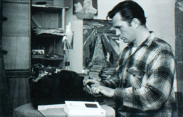 My favorite author, Jack Kerouac (On the Road) working on his typewriter