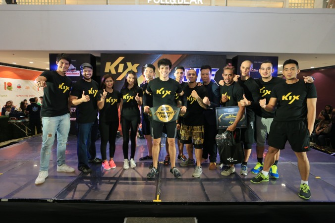 The top ten RUTE finalists with the host DJ Rico Robles, KIX Ambassador Daniel Matsunaga and Mr. Andy Chang, Head of Marketing for KIX, and Creator of R U Tough Enough Challenge