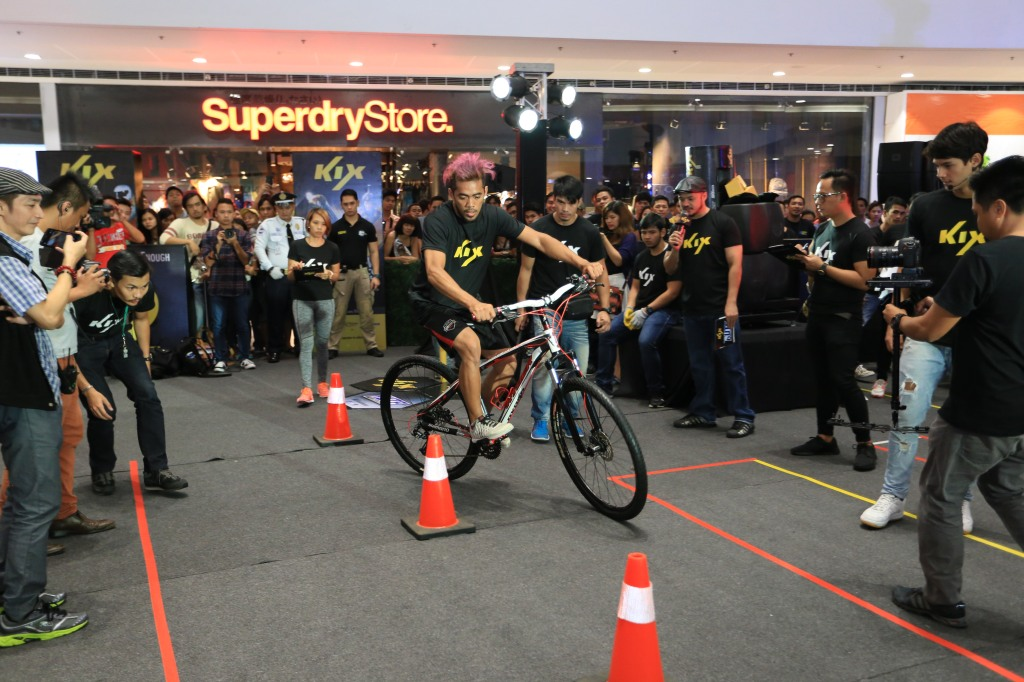 Nathaniel Sanchez during the Biking part of the obstacle course